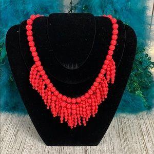 KATE SPADE Red Orange Bubbles Drop Necklace